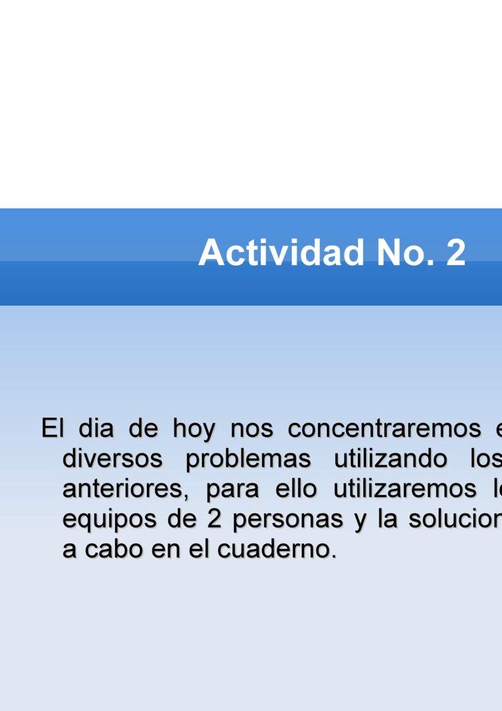 Actividad No. 2 <ul><li>El dia de hoy nos concentraremos en resolver diversos problemas utilizando los 4 pasos anteriores,...