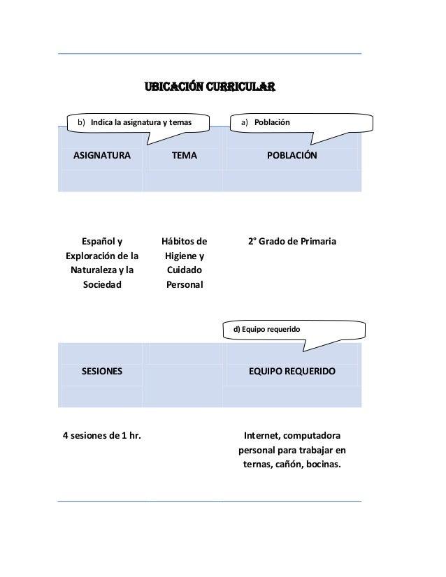 UBICACIÓN CURRICULAR   b) Indica la asignatura y temas      a) Población  ASIGNATURA                TEMA               POB...