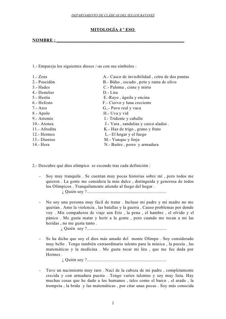 EJERCICIOS DE DEFINICIONES DEL PANTEÓN OLÍMPICO
