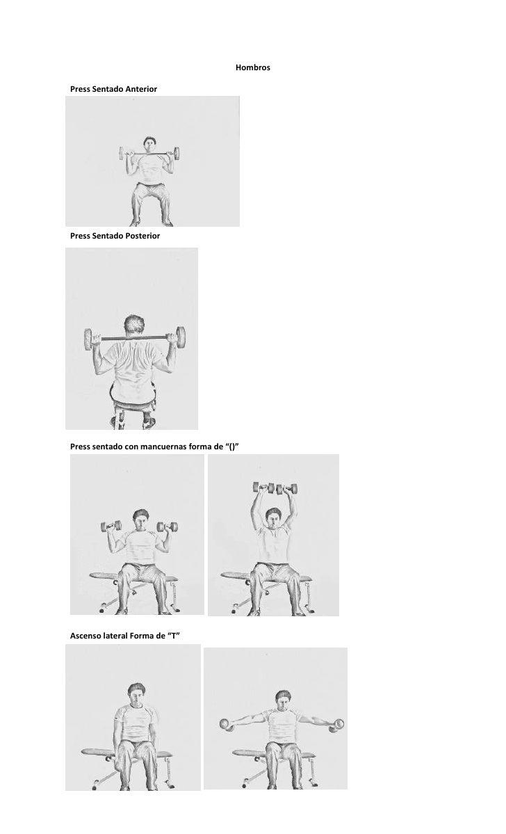"HombrosPress Sentado AnteriorPress Sentado PosteriorPress sentado con mancuernas forma de ""()""Ascenso lateral Forma de ""T"""