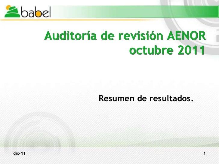 Auditoría de revisión AENOR                        octubre 2011                  Resumen de resultados.dic-11             ...