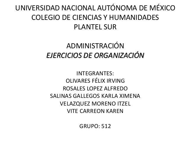UNIVERSIDAD NACIONAL AUTÓNOMA DE MÉXICO COLEGIO DE CIENCIAS Y HUMANIDADES PLANTEL SUR ADMINISTRACIÓN EJERCICIOS DE ORGANIZ...