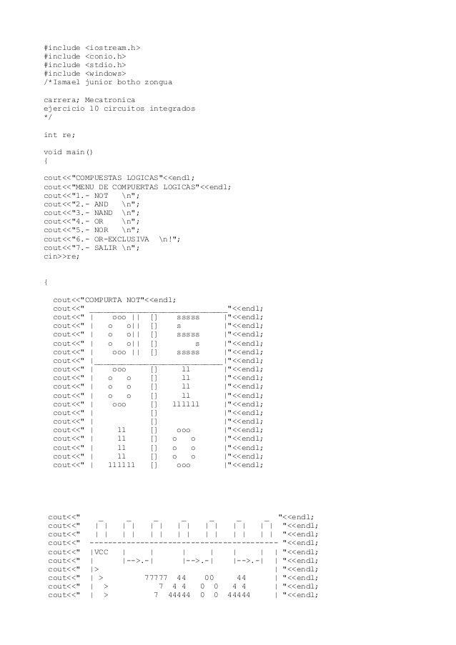 #include <iostream.h>#include <conio.h>#include <stdio.h>#include <windows>/*Ismael junior botho zonguacarrera; Mecatronic...