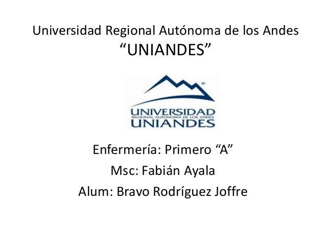 """Universidad Regional Autónoma de los Andes """"UNIANDES"""" Enfermería: Primero """"A"""" Msc: Fabián Ayala Alum: Bravo Rodríguez Joff..."""