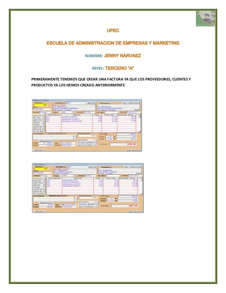UPEC       ESCUELA DE ADMINISTRACION DE EMPRESAS Y MARKETING                         NOMBRE: JENNY NARVAEZ                ...