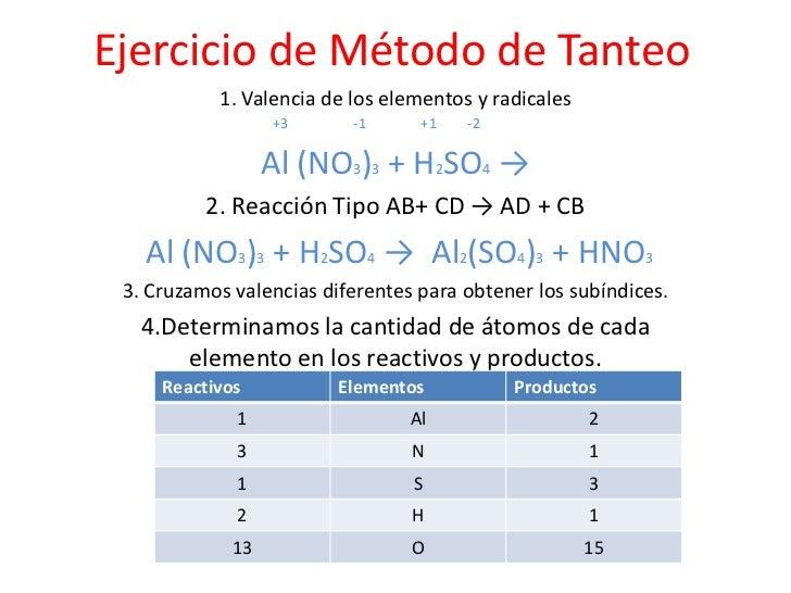Ejercicio de Método de Tanteo<br />1. Valencia de los elementos y radicales                                      <br />   ...