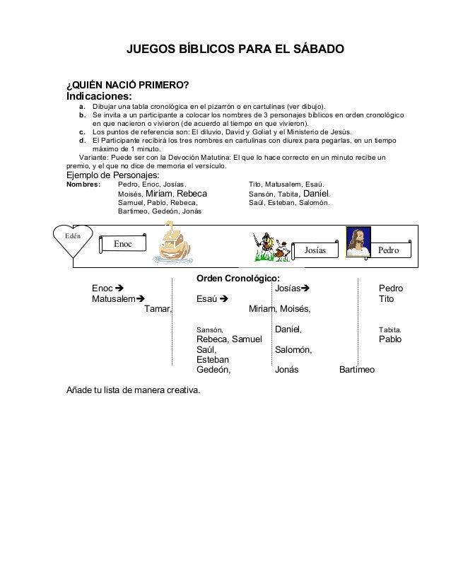 JUEGOS BÍBLICOS PARA EL SÁBADO¿QUIÉN NACIÓ PRIMERO?Indicaciones:   a. Dibujar una tabla cronológica en el pizarrón o en ca...