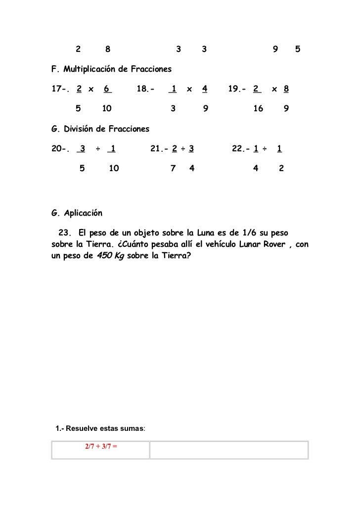 Ejercicios De Fracciones 6º