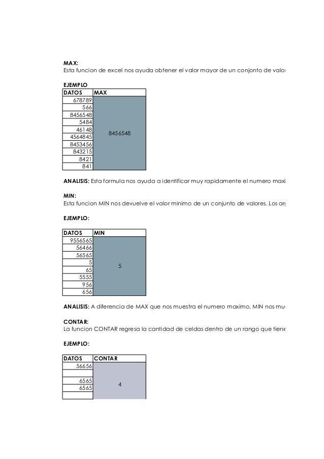 MAX: Esta funcion de excel nos ayuda obtener el valor mayor de un conjonto de valores que puede EJEMPLO DATOS MAX 678789 5...