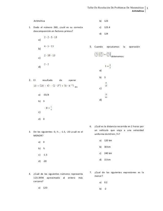 Taller De Resolución De Problemas De Matemáticas Aritmética 1 Aritmética 1. Dado el número 260, ¿cuál es su correcta desco...
