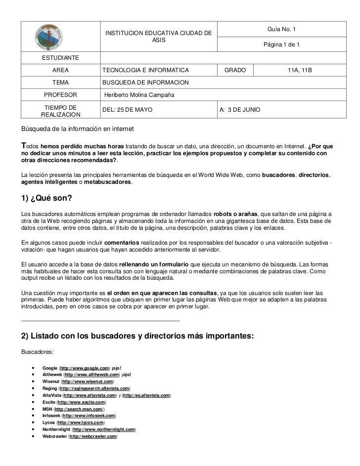 Guía No. 1                                      INSTITUCION EDUCATIVA CIUDAD DE                                           ...