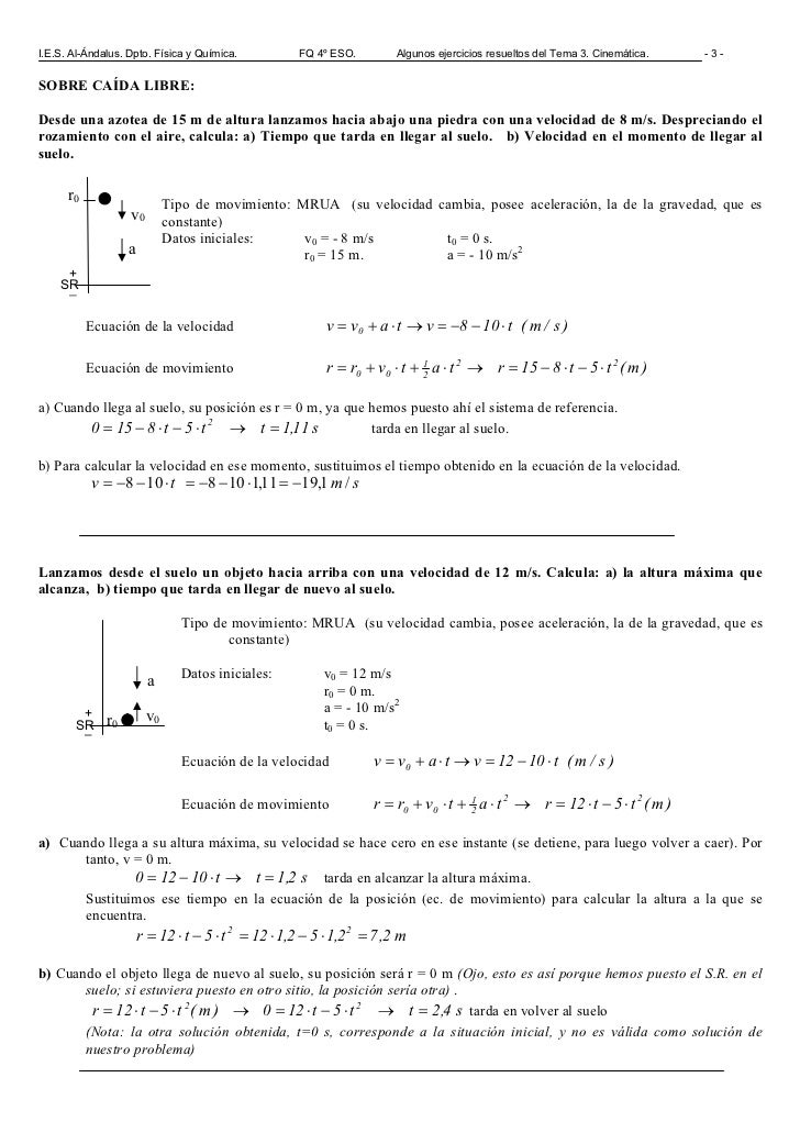 Cinemática 4 Eso Problemas Resueltos. 20 problemas resueltos de MRU ...