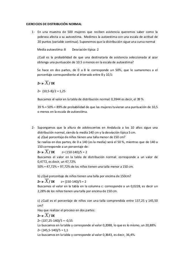 EJERCICIOS DE DISTRIBUCIÓN NORMAL1- En una muestra de 500 mujeres que reciben asistencia queremos saber como lapobreza afe...