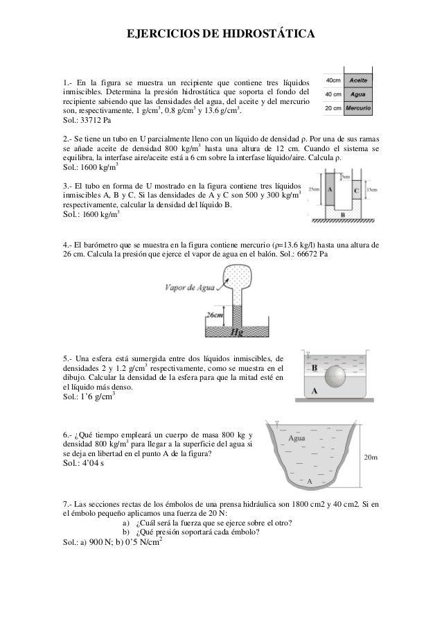 EJERCICIOS DE HIDROSTÁTICA 1.- En la figura se muestra un recipiente que contiene tres líquidos inmiscibles. Determina la ...