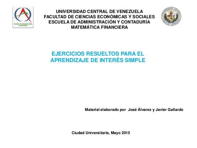 UNIVERSIDAD CENTRAL DE VENEZUELA FACULTAD DE CIENCIAS ECONÓMICAS Y SOCIALES ESCUELA DE ADMINISTRACIÓN Y CONTADURÍA MATEMÁT...