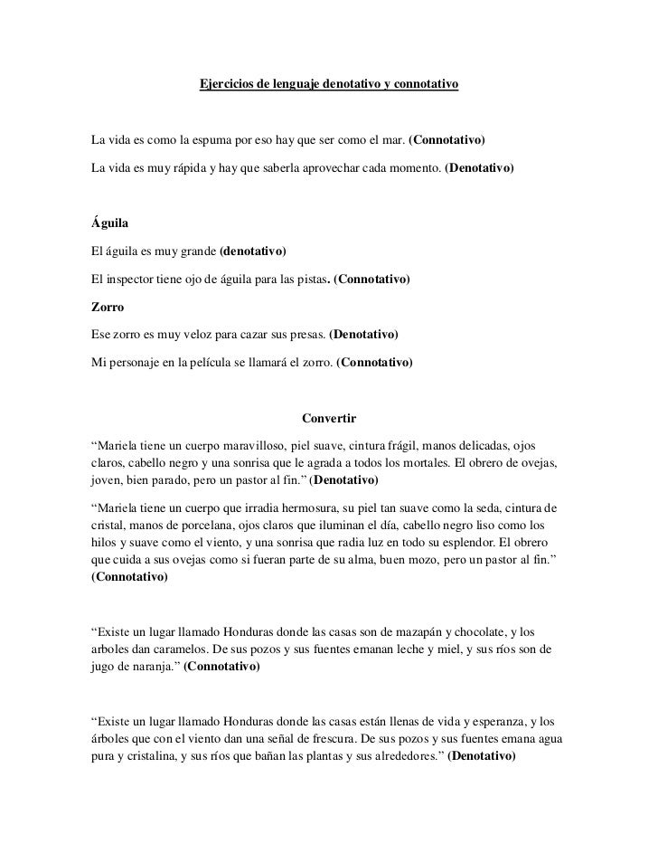 Ejercicios de lenguaje denotativo y connotativo