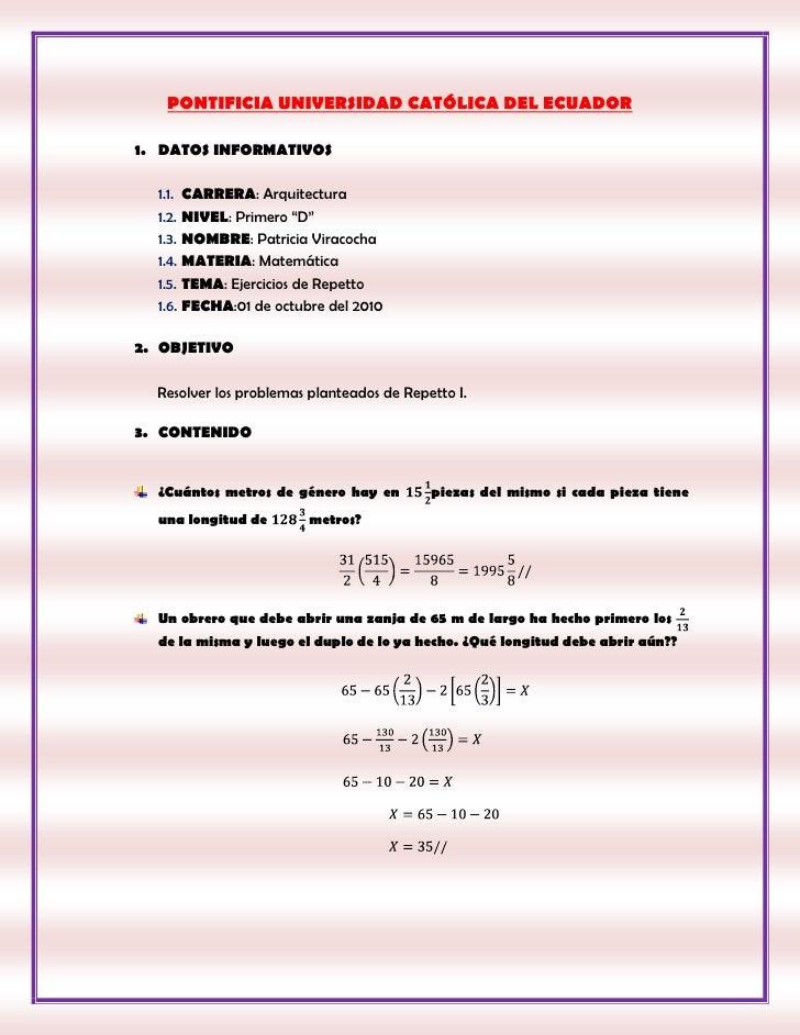 """PONTIFICIA UNIVERSIDAD CATÓLICA DEL ECUADOR<br />DATOS INFORMATIVOS<br />CARRERA: Arquitectura <br />NIVEL: Primero """"D""""<br..."""