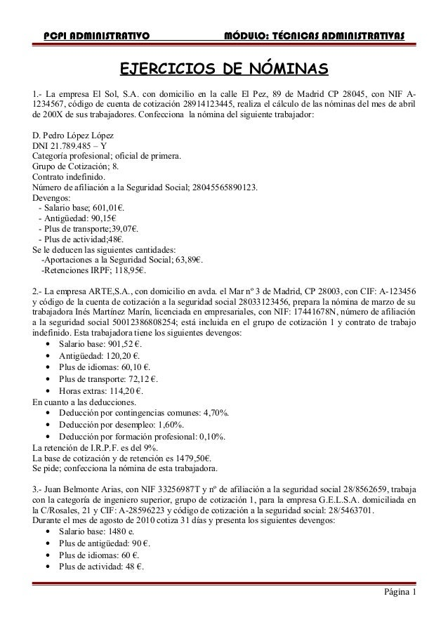 PCPI ADMINISTRATIVO                             MÓDULO: TÉCNICAS ADMINISTRATIVAS                       EJERCICIOS DE NÓMIN...