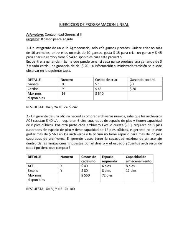 EJERCICIOS DE PROGRAMACION LINEAL Asignatura: Contabilidad Gerencial II Profesor: Ricardo pesca Angulo 1.-Un integrante de...