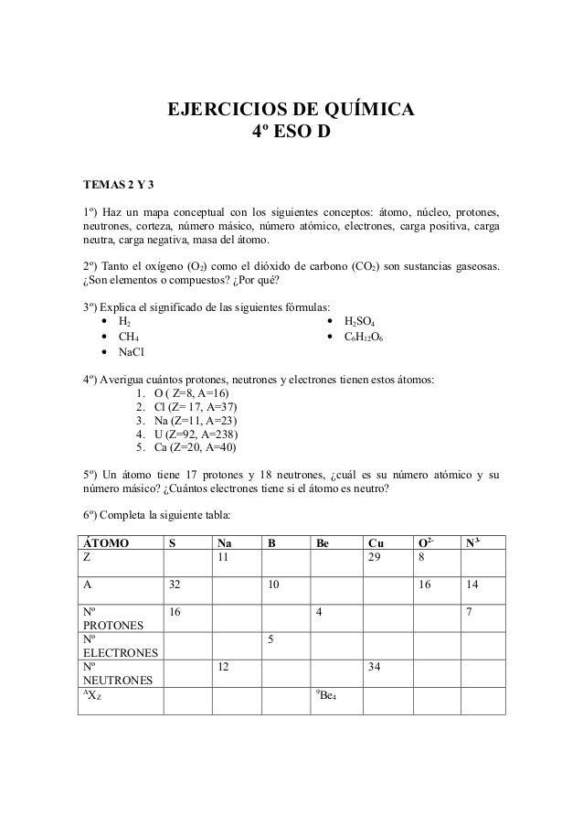 EJERCICIOS DE QUÍMICA4º ESO DTEMAS 2 Y 31º) Haz un mapa conceptual con los siguientes conceptos: átomo, núcleo, protones,n...