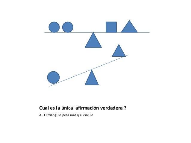Cual es la única afirmación verdadera ? A . El triangulo pesa mas q el circulo