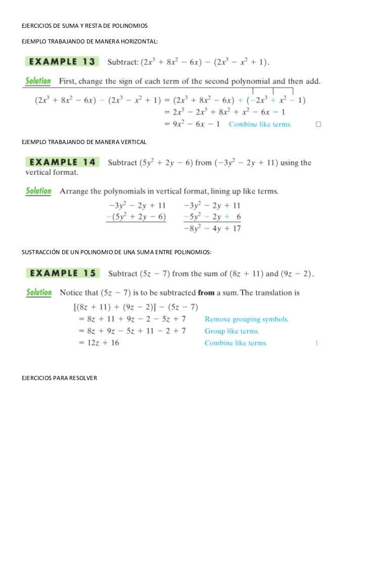Ejercicios de suma y resta de polinomios