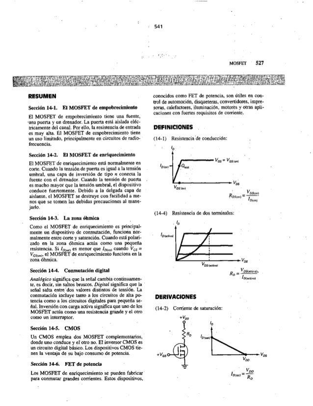 RESUMEN  Sección 14-1. El MOSFET de empobrecimiento El MOSFET de empobrecimiento tiene una fuente,   -una puerta y un dren...