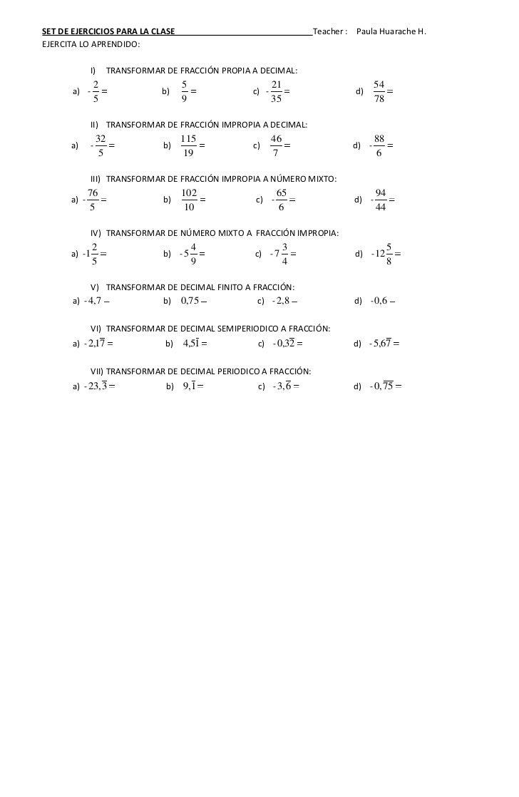Ejercicios fracciones 1º