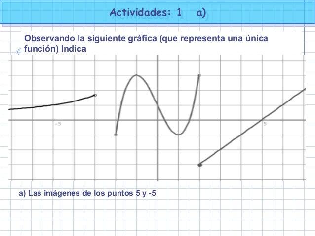 Actividades: 1 a)Actividades: 1 a) Observando la siguiente gráfica (que representa una única función) Indica a) Las imágen...