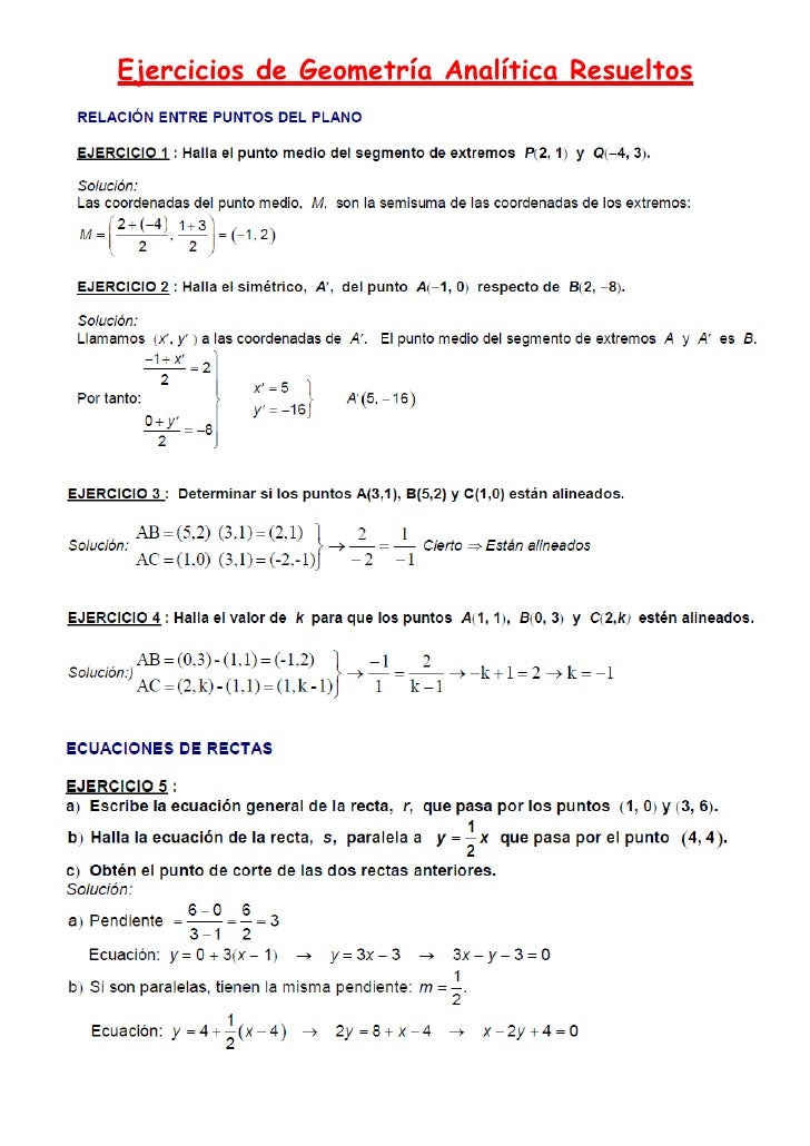 Ejercicios geometría analítica (1)