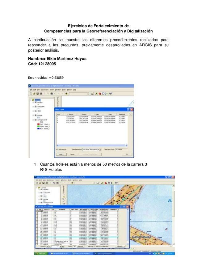 Ejercicios de Fortalecimiento deCompetencias para la Georreferenciación y DigitalizaciónA continuación se muestra los dife...