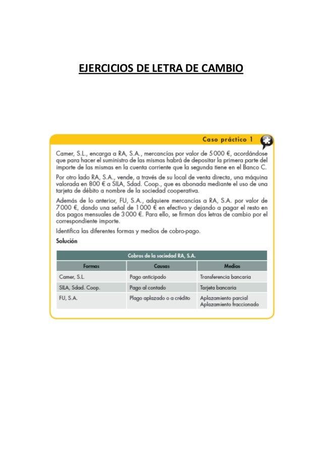 EJERCICIOS DE LETRA DE CAMBIO