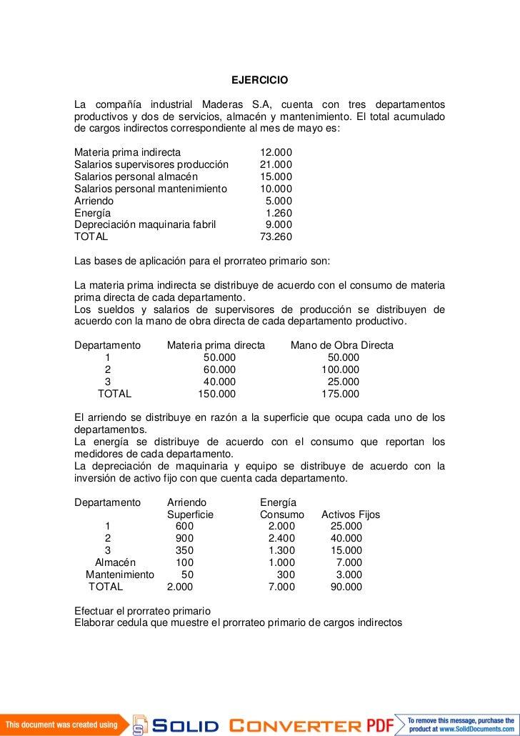 EJERCICIOLa compañía industrial Maderas S.A, cuenta con tres departamentosproductivos y dos de servicios, almacén y manten...