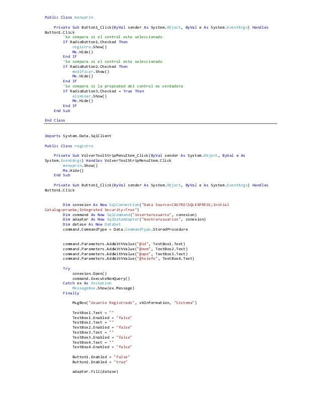 Ejercicio sql server vs visual .net