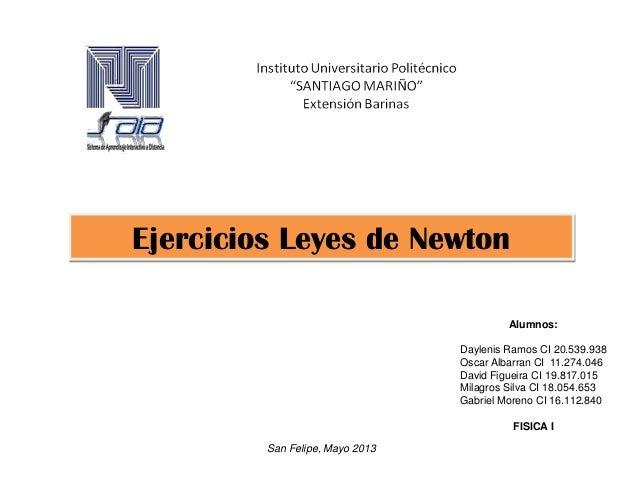 Ejercicios Leyes de NewtonAlumnos:Daylenis Ramos CI 20.539.938Oscar Albarran CI 11.274.046David Figueira CI 19.817.015Mila...