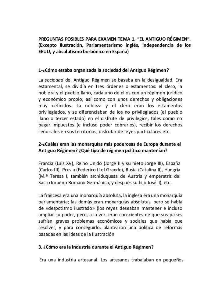 """PREGUNTAS POSIBLES PARA EXAMEN TEMA 1. """"EL ANTIGUO RÉGIMEN"""".(Excepto Ilustración, Parlamentarismo inglés, independencia de..."""