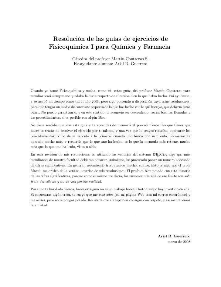 Resolución de las guías de ejercicios de              Fisicoquímica I para Química y Farmacia                           Cá...