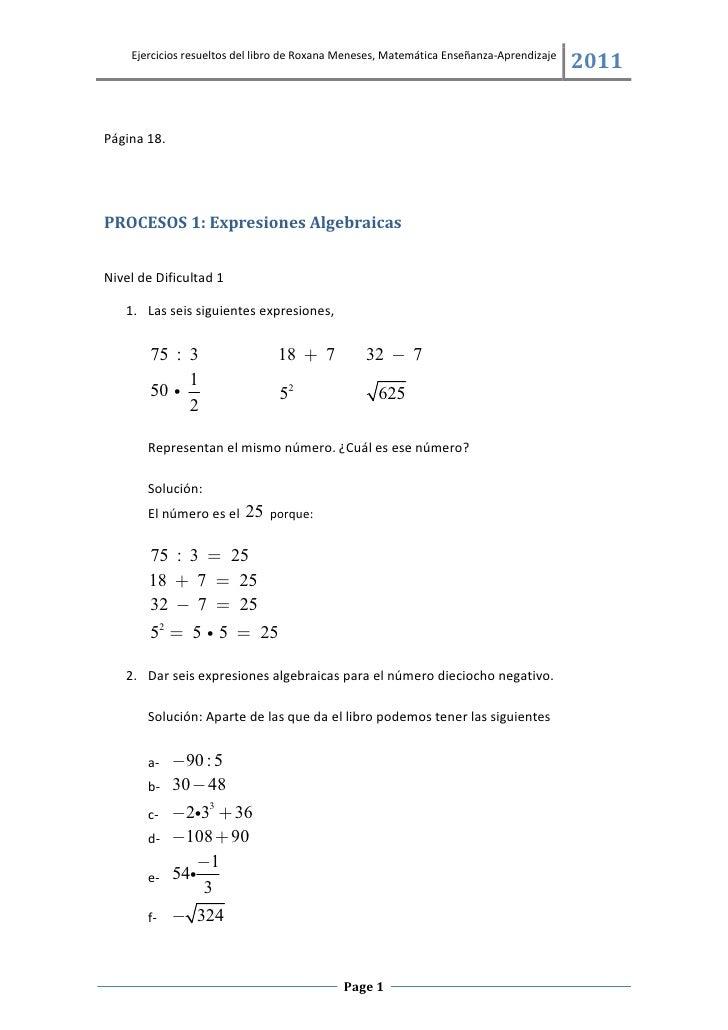 Ejercicios resueltos del libro de Roxana Meneses, Matemática Enseñanza-Aprendizaje                                        ...