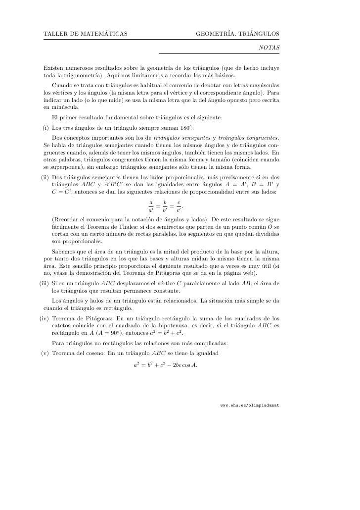 ´  TALLER DE MATEMATICAS                                       GEOMETR´ TRIANGULOS                                        ...