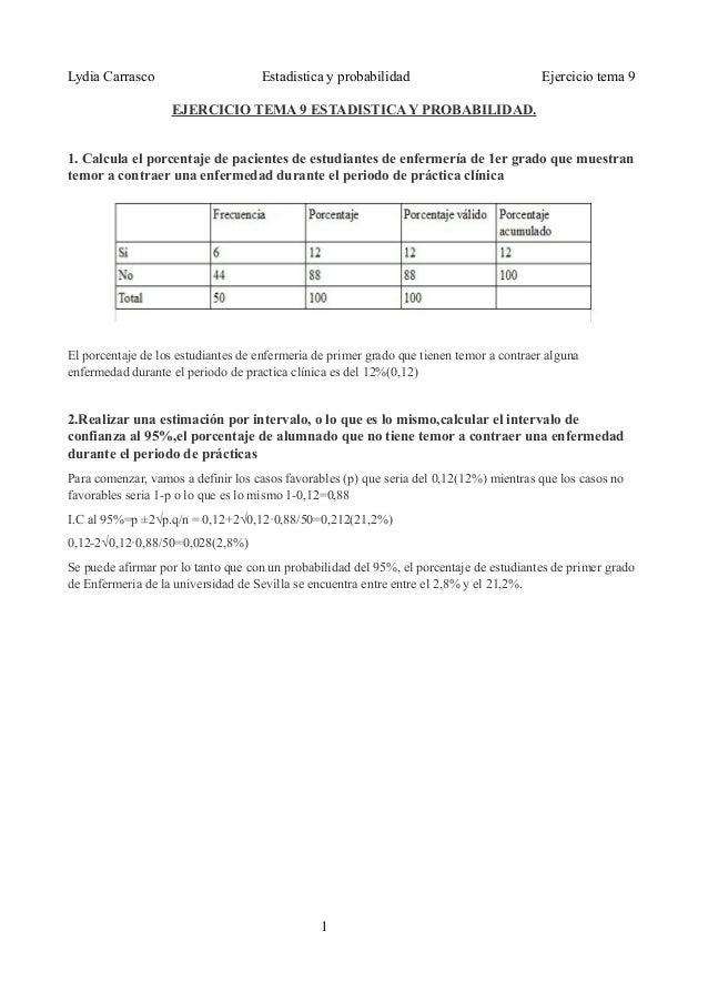 Lydia Carrasco Estadistica y probabilidad Ejercicio tema 9EJERCICIO TEMA 9 ESTADISTICA Y PROBABILIDAD.1. Calcula el porcen...