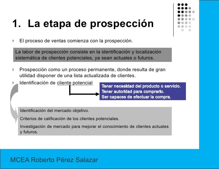 1. La etapa de prospección?    El proceso de ventas comienza con la prospección.    La labor de prospección consiste en la...