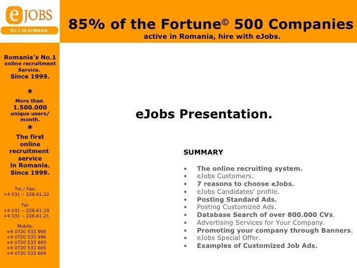 eJobs Presentation. <ul><li>SUMMARY </li></ul><ul><li>The online recruiting system. </li></ul><ul><li>eJobs Customers. </l...