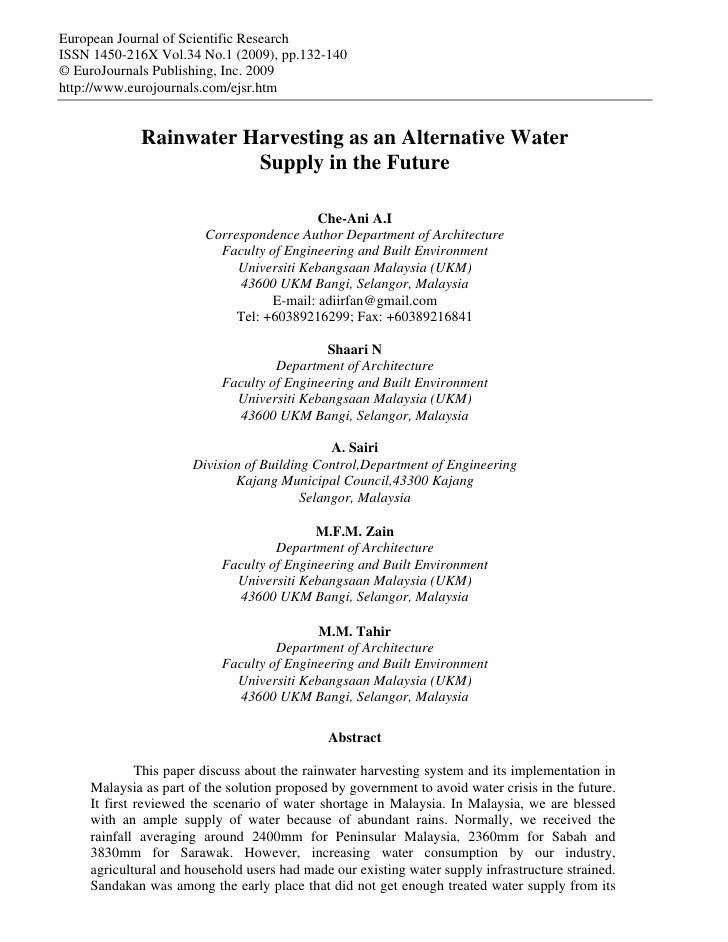 Malaysia;  Rainwater Harvesting as an Alternative Water Supply in the Future