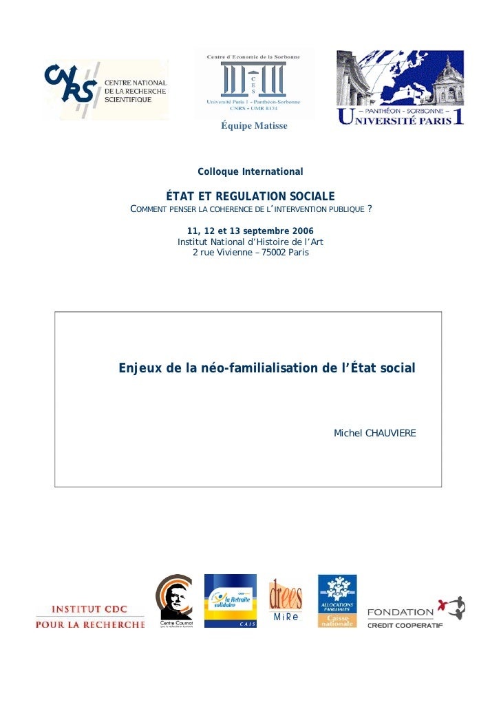 Équipe Matisse                     Colloque International           ÉTAT ET REGULATION SOCIALE  COMMENT PENSER LA COHERENC...