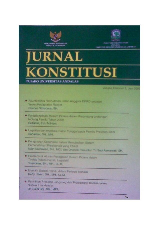 PUSaKO UNIVERSITAS ANDALASJurnal Konstitusi, Vol. II, No. 1, Juni 2009   1