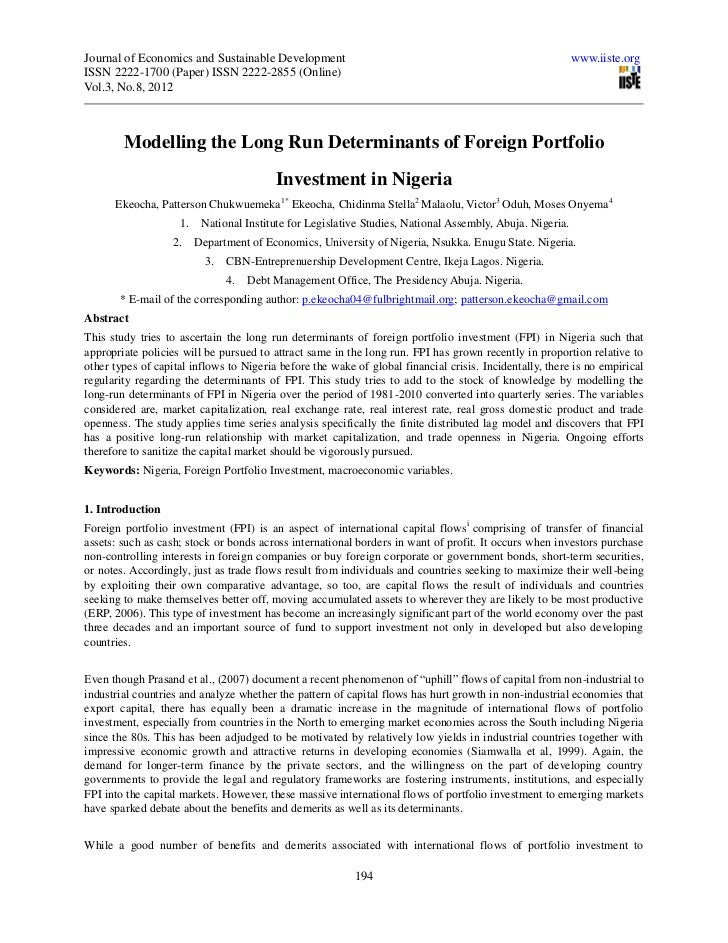 Ekeocha modelling the long run determinants of foreign portfolio investment in nigeria