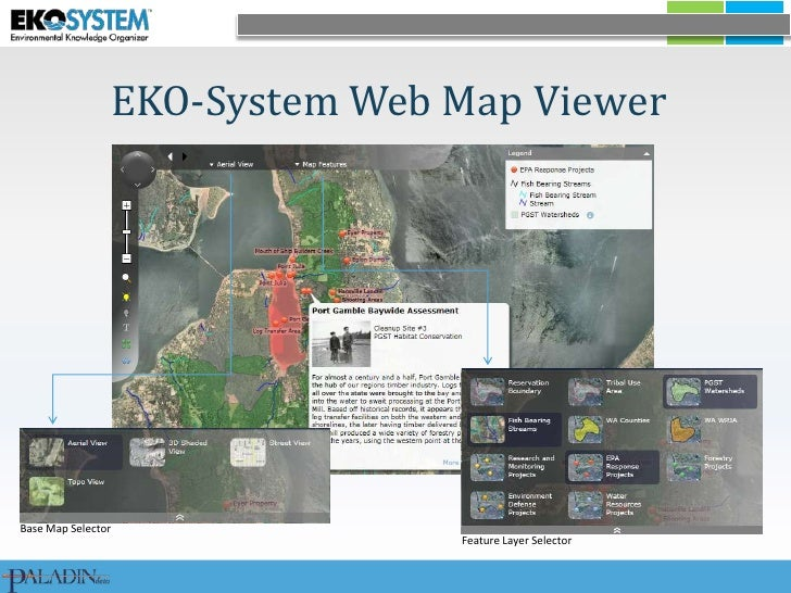 EKO-System Web Map Viewer <br />Base Map Selector<br />Feature Layer Selector<br />