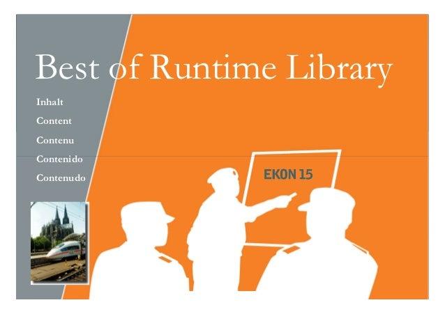 Best of Runtime LibraryInhaltContentContenuContenidoContenudo Sep. 2011   softwareschule.ch   1
