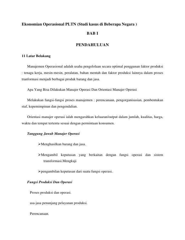 Ekonomian Operasional PLTN (Studi kasus di Beberapa Negara )                                           BAB I              ...