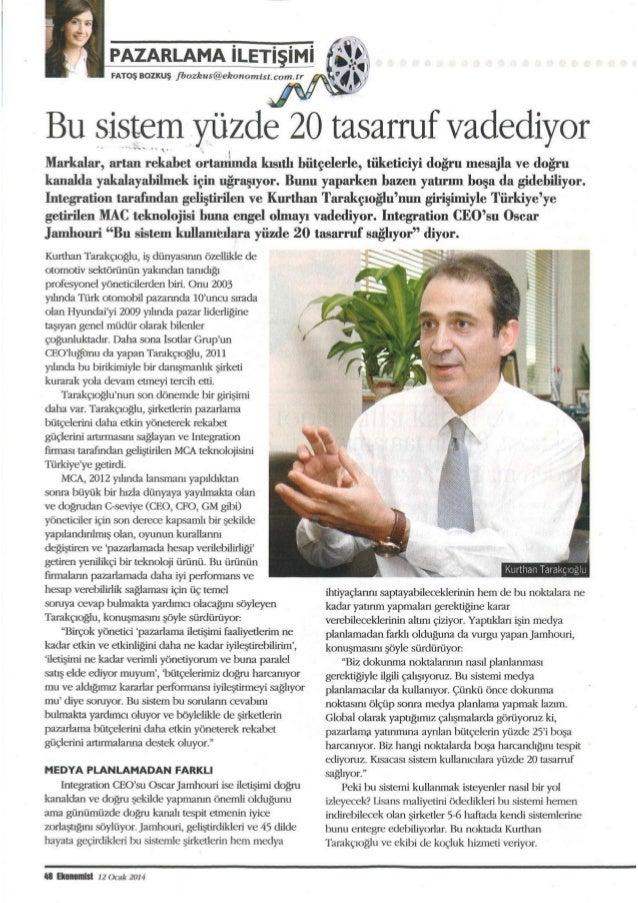 Ekonomist Ocak 2014, Pazarlamada etkinlik, verimlilik ve hesap verebilirlik...